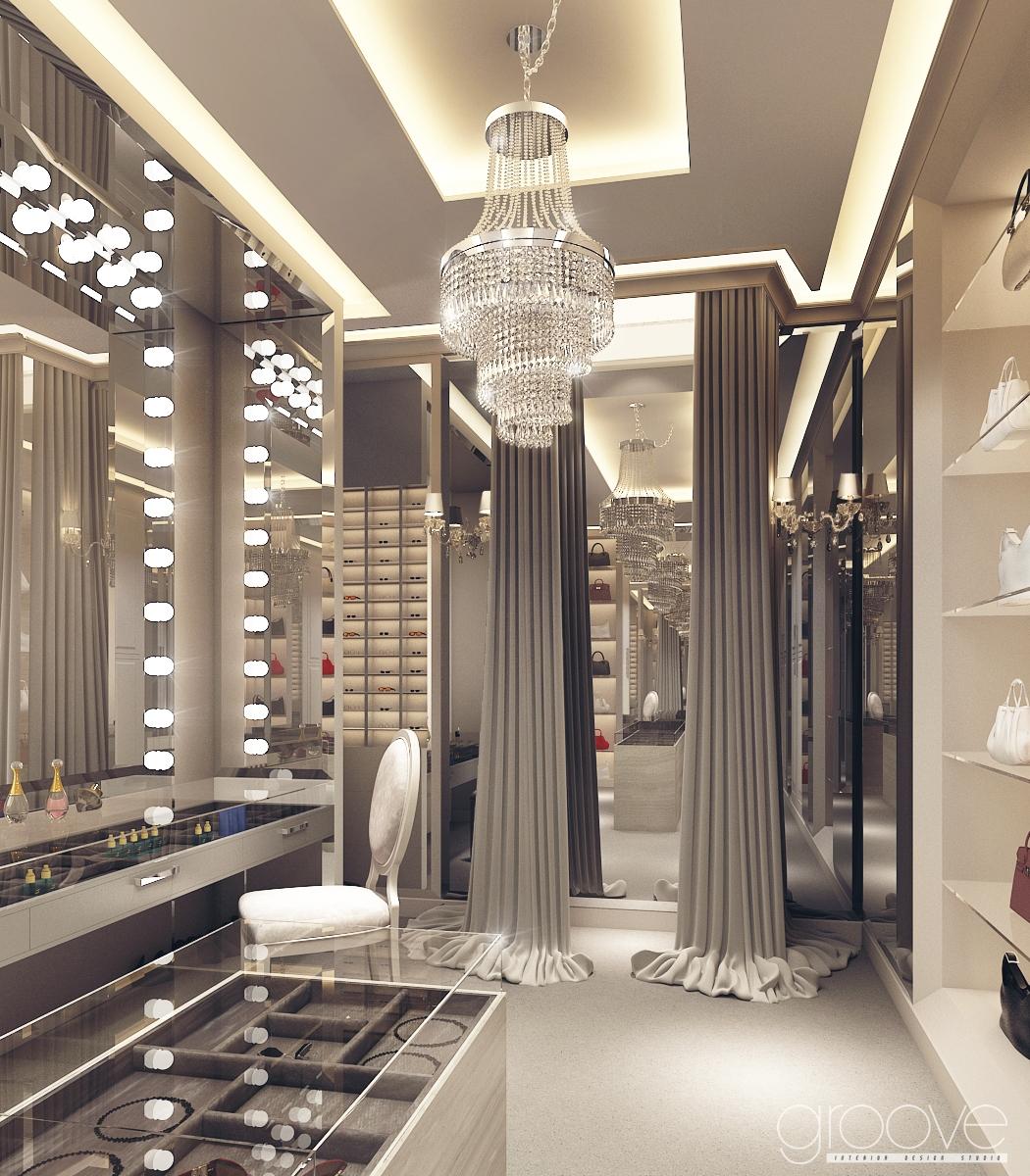 The groove design studio walk in closet ladawan for Studio closet design